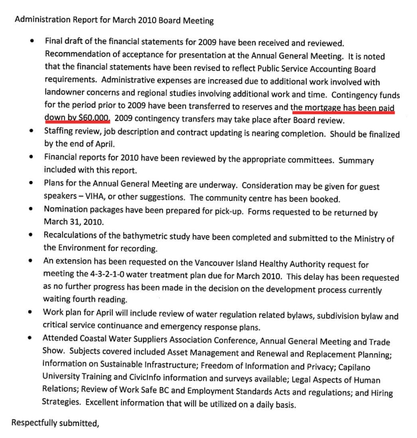 excerpt administration report march 2010 lump sum 60 g copy