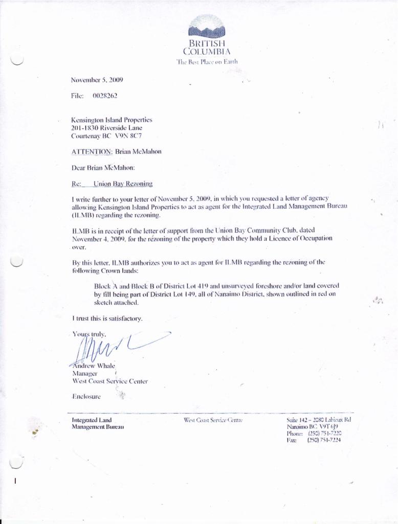 Letter to mcmahon fr west coast service centre nov 2009