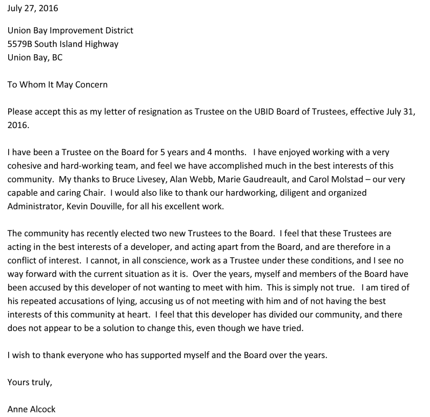 Anne Alcock Letter of Resignation