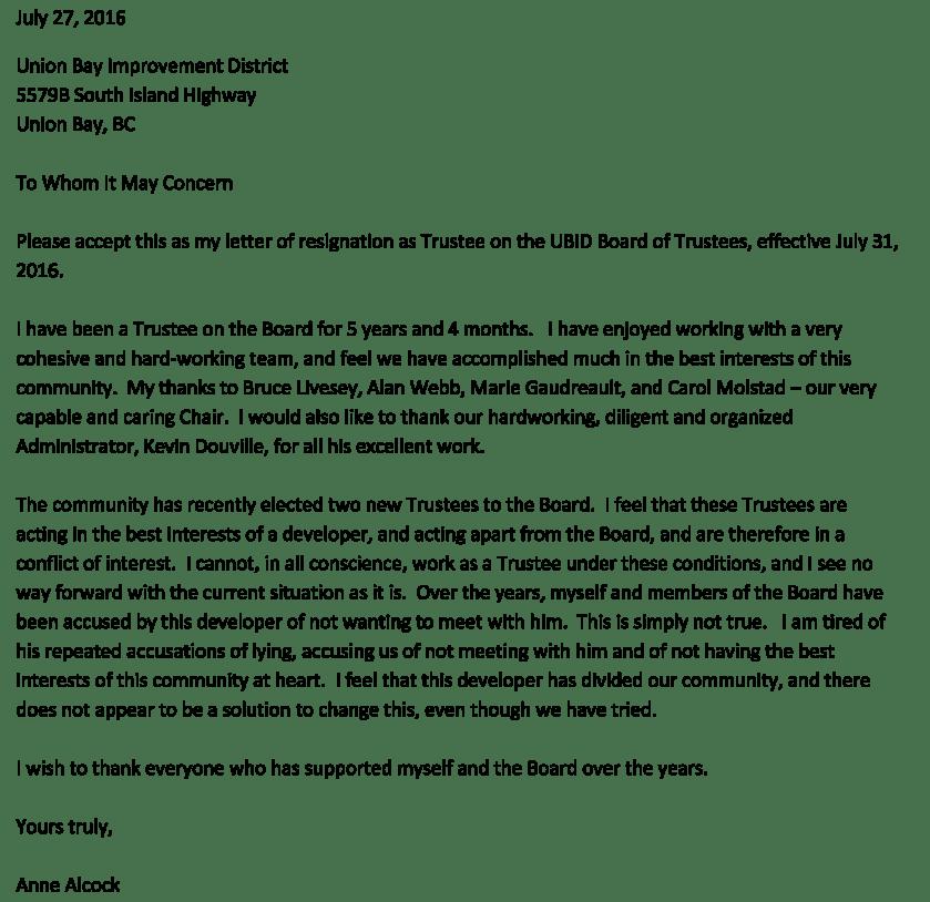 Anne Alcock Letter of Resignation