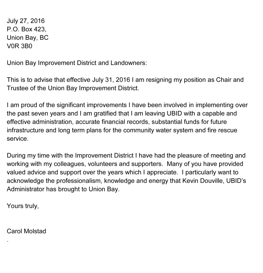 Carol Molstad Resignation from UBID