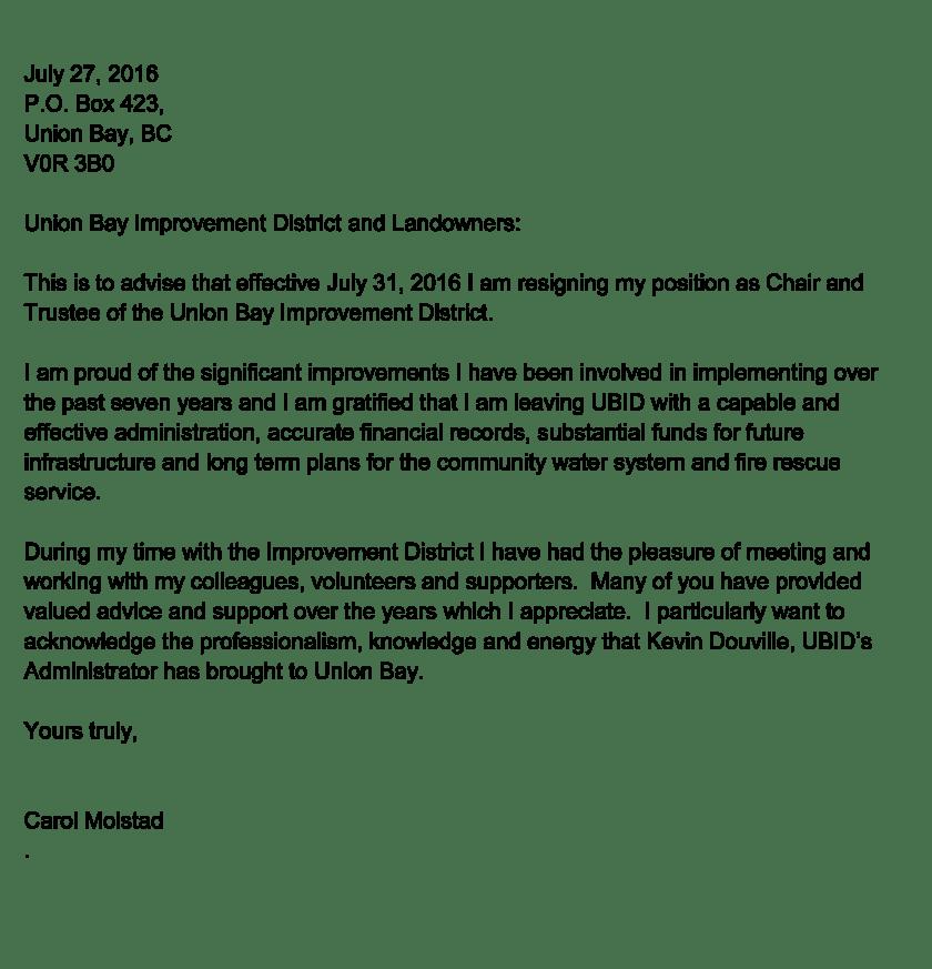 Carol Molstad Resignation from UBID