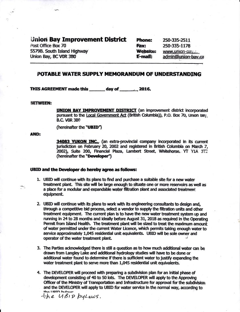 Memorandum of Understanding page 1